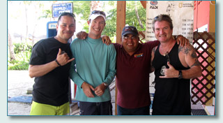 Alejandro Rivas-Vasquez, Frank Dennert, Adolo Garrido and Hamish Burgess at Unique Sports of Aruba, January 2010