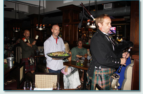 Roger McKinley piping in the Haggis, with Eric Waddell and Bud Clark, at Fleetwoods on Front St, Lahaina, Maui. Jan 25th 2013