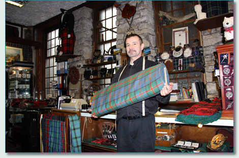 Bill James with the Hawaii Tartan at the Celtic Craft Centre, Edinburgh
