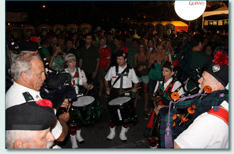 The Celtic Pipes and Drums of Hawaii on St.Patrick's Day, Downtown Honolulu Blockparty 2012