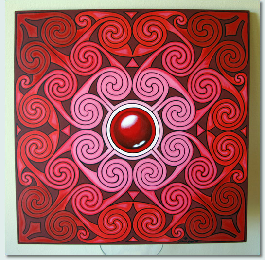 """Ross-shire Rose' painting based on the Hilton od Cadboll Stone, by Hamish Douglas Burgess, 2009"
