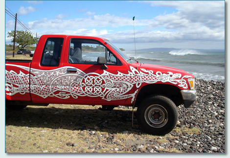 Hamish's latest Celtic art - The Celtic Chariot - Celtic Dragon surf truck
