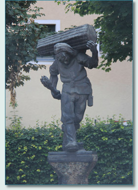 Celtic Salt Miner statue in Hallein, Austria