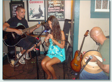 Clint Burdick, Yvonne Falk and Bud Clark at Mulligan's at the Wharf, Lahaina