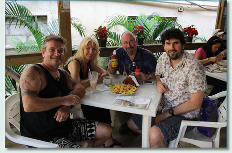 Hamish Burgess, Jennifer Fahrni, Máirtín de Cógáin and Seamus Kennedy,  Coxen Hole, Roatan, Bay Islands, Honduras - Irish Music Cruise 2012