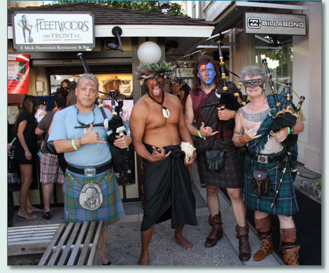 Mike Reidel, Vene, Roger McKinley and Hamish Burgess outside Fleetwoods on Front ST., Lahaina Halloween 2012