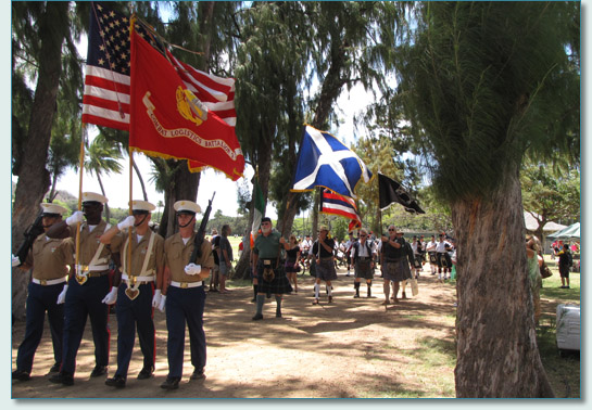 Parade of the Color Guard, Massed Pipe Bands and the Scottish Clans at the 29th Annual Hawaiian Scottish Festival & Highland Games, Waikiki 2010