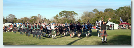 Massed Pipe Bands at the Central Florida Highland Games 2009