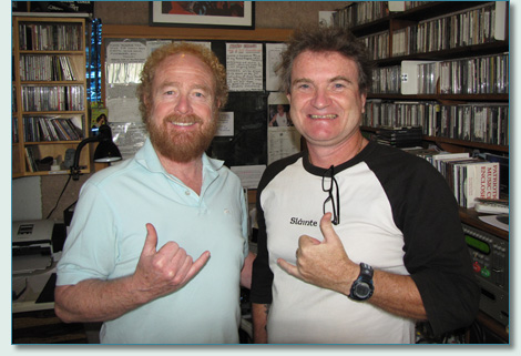 George Millar and Hamish Burgess in Mana'o Radio Studios, Wailuku, Maui - January 2012
