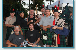 Hamish and Pete of Maui Celtic with members of the Celtic Pipes and Drums of Hawaii and the Hawaiian Scottish Association