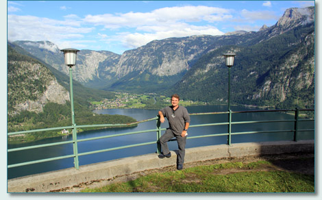 Hamish Burgess with a view of Obertraun from Hallstatt upper valley