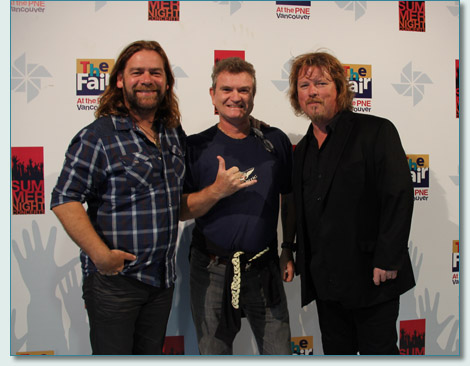 Hamish Burgess of the Maui Celtic Radio Show with Alan Doyle and Bob Hallett of Great Big Sea, at the PNE Vancouver, August 2013