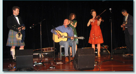 Hamish Burgess, Archie Fisher, Hanneke Cassel, Shannon and Matt Heaton on Robert Burns Night aboard the Irish Music Cruise 2010