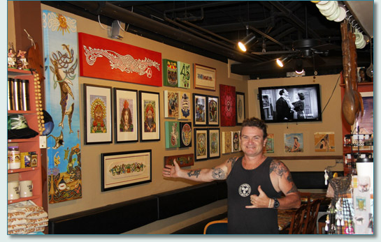 Hamish Burgess with his Celtic art at Hawaiian Village Coffee, Kahana, Maui, May 2013