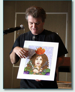 "Hamish Burgess with his art ""Brigid"" at his Celtic Mythology Talk on the Irish Music Cruise 2012"