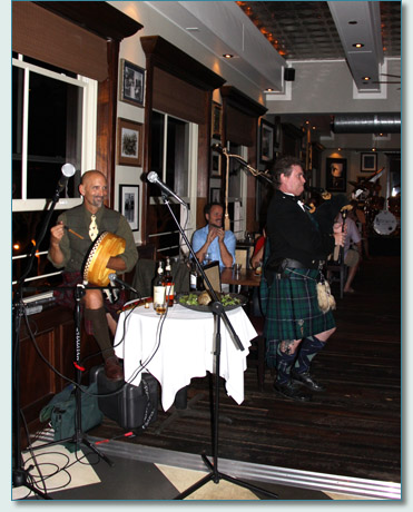 Hamish Burgess piping at Robert Burns Night at Fleetwoods on Front St, Lahaina, Maui. Jan 25th 2013