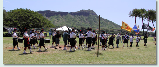Celtic Pipes & Drums of Hawaii and guests on Parade at 31st Hawaiian Scottish Festival Kapiolani Park, Waikiki