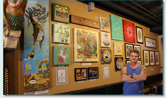 Hamish Burgess with his Celtic art at Hawaiian Village Coffee, Kahana, Maui, April 2014