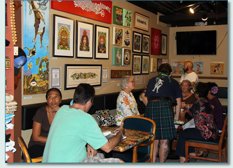 The Celtic Art of Hamish Burgess reception in Hawaiian Village Coffee, Kahana, Maui. May 18th 2013