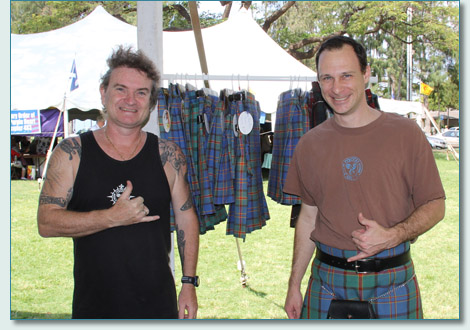 Hamish Burgess and Doug Herring, designer of the Hawaii Tartan, on Tartan Day 2013 at the Hawaiian Scottish Festival in Waikiki