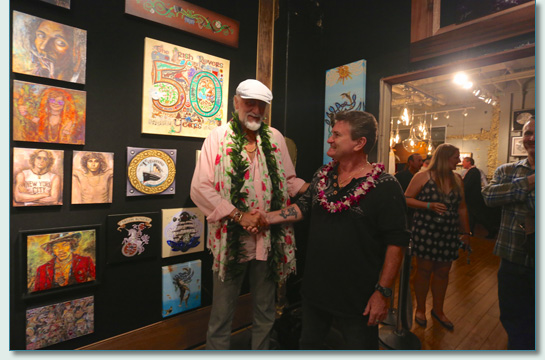 Hamish Burgess with Mick Fleetwood at the opening of the Mick Fleetwood Art Gallery, Lahaina Maui, May 2015