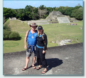 Hamish Burgess and Jennifer Fahrni at the Mayan City of Altun Ha