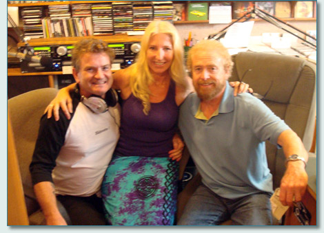 Hamish Burgess, Jennifer Fahrni and George Millar of the Irish Rovers, at the Mana'o Radio studio, Wailuku, Maui