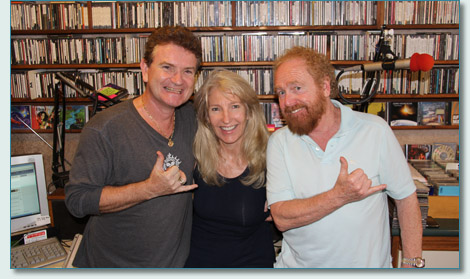 Hamish Bugress and Jennifer Fahrni, and George Millar of The Irish Rovers, at the Mana'o Radio studios, Wailuku, Maui. Jan 2013