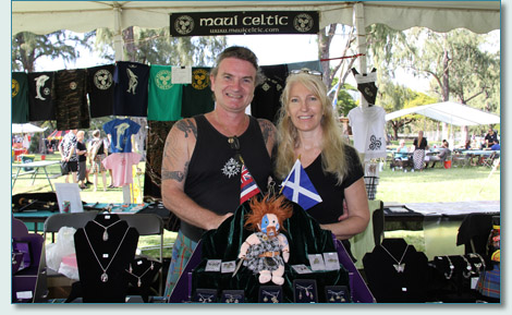 Hamish & Jennifer at the Maui Celtic booth - 32nd Hawaiian Scottish Festival, Waikiki