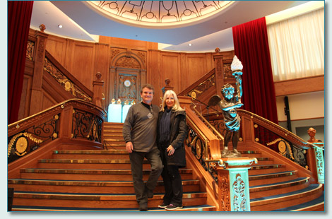 Hamish Burgess and Jennifer Fahrni on the reconsructed Titanic main stairs at the Titanic Belfast Centre