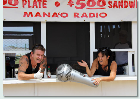 Hamish Burgess and Kathy Collins at the Mana'o Radio fundraiser food booth at the Maui County Fair 2012