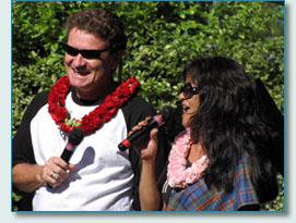 Hamish Burgess and Kathy Collins, MCs at the Princess Ka'iulani Festival, Kula 2009