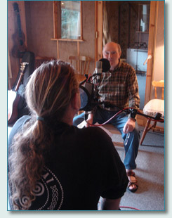 Hamish Burgess interviewing Liam Clancy at his recording studio in Ring, Co.Waterford, Ireland September 2007