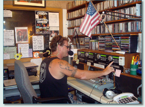 Hamish Burgess in the Mana'o Radio Studio, Wailuku, Maui