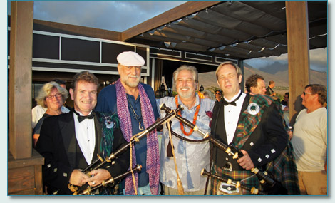 Hamish Burgess, Mick Fleetwood, Jonathan Todd and Roger McKinley at Fleetwood's on Front St. in Lahaina, Maui.