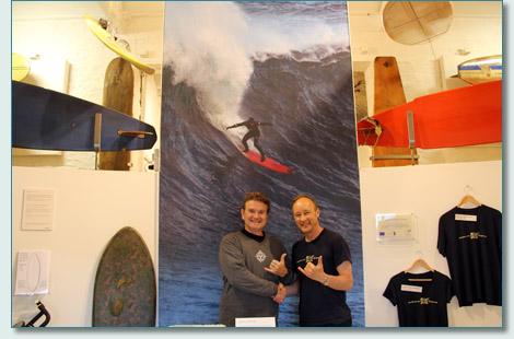 Hamish Burgess and Pete Robinson at the Museum of British Surfing in Braunton, North Devon