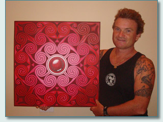 Hamish Burgess with Ross-shire Rose - Hilton of Cadboll painting