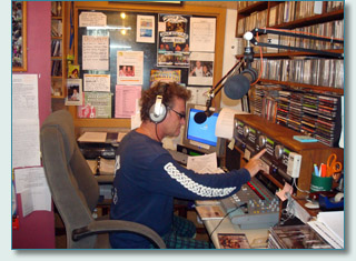 Hamish Burgess hosting his Celtic radio show on Mana'o Radio Maui Hawaii