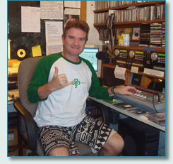 Hamish Burgess in the Mana'o Radio Studios, March 2010
