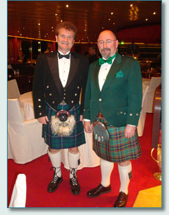 Hamish Burgess and Seamus Kennedy in formal kilt wear, Irish Music Cruise 2009