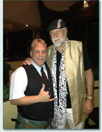 Bagpiper Michael Riedel and Mick Fleetwood at Fleetwood's on Front St., Lahaina, Maui. December 2012