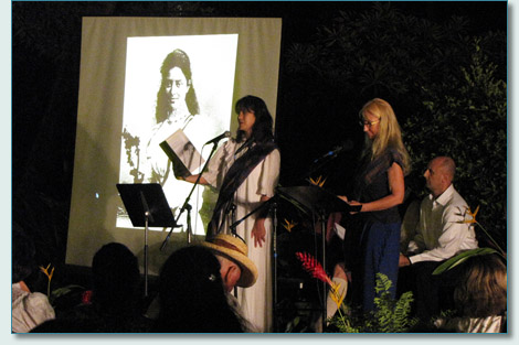 Camille Romero and Jennifer Fahrni reading 'Ka'iulani - The Island Rose' at the Lahaina Royal Ho'ike