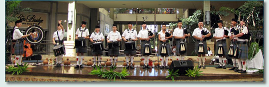 The Isle of Maui Pipeband at the Queen Ka'ahumanu Mall