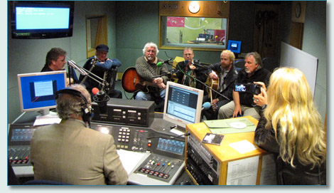 The Irish Rovers with Gerry Kelly on BBC Ulster, with Jennifer Fahrni filming. September 2010