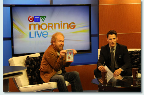 George Millar on CTV Regina with Hamish Burgess' art on the Irish Rovers Christmas DVD