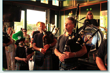 Jack Lee and the Isle of Maui Pipe Band at Mulligan's on the Blue Wailea Maui - St.Patrick's Day 2012