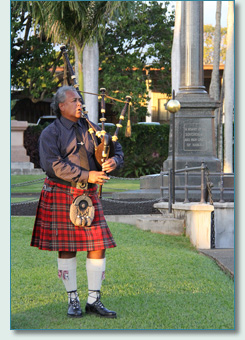 Jacob Kaio at the Princess Ka'iulani memorial, Royal Mausoleum, Oahu March 2012