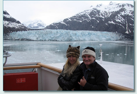 Jennifer Fahrni and Hamish Burgess at the Margerie Glacier, Glacier Bay National Park, Alaska - May 2011