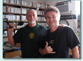 Joel Agnew and Hamish Burgess at Mana'o Radio Studios, Wailuku, Maui