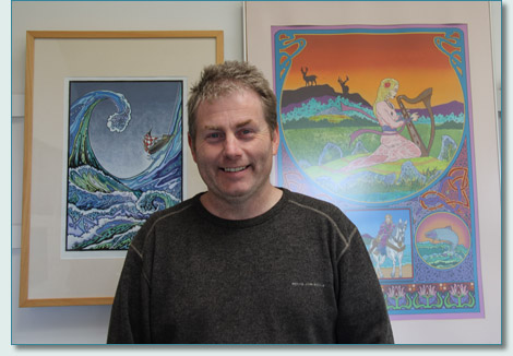 Celtic artist John Quigley at his Ard Rua Studio in Carrowmenagh, Inishowen, Donegal